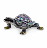 Bejeweled Amazing Azure Turtle Keepsake Box