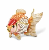 Bejeweled And Simulated Pearls Goldfish Keepsake Box