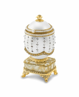 Bejeweled Authentic Duck Egg Golden Crystal Music Ring Keepsake Box