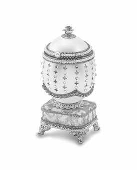 Bejeweled Authentic Duck Egg Silver Crystal Music Ring Keepsake Box