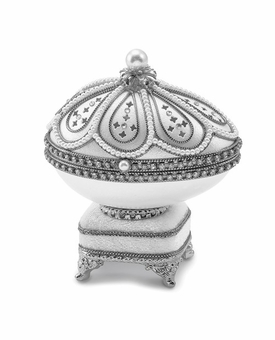 Bejeweled Authentic Goose Egg Silver Crystal Music Ring Keepsake Box