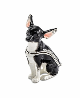 Bejeweled Black and White Chihuahua Keepsake Box