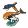 Bejeweled Blue Dolphin and Baby Keepsake Box