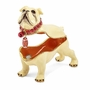 Bejeweled Bulldog With Football Keepsake Box