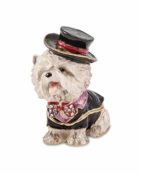 Bejeweled Butler Dressed Bichon Keepsake Box