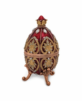 Bejeweled Fantasy Red Musical Egg Keepsake Box