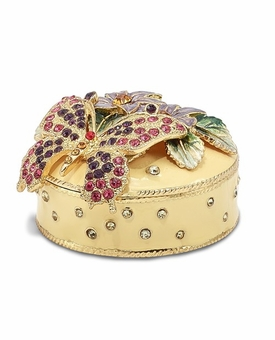 Bejeweled Flowered Butterfly Keepsake Box