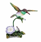 Bejeweled Flying Hummingbird And Flower Keepsake Box
