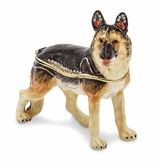 Bejeweled German Shepherd Keepsake Box