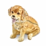 Bejeweled Golden Retriever Pup Keepsake Box