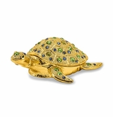 Bejeweled Golden Sea Turtle Keepsake Box