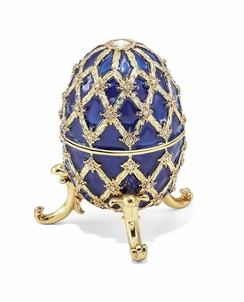 Bejeweled Grand Royal Regal Blue Musical Egg Keepsake Box