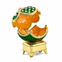 Bejeweled Green Grandeur With Simulated Pearl Musical Egg Keepsake Box