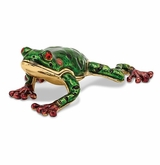 Bejeweled Green Pond Frog Keepsake Box