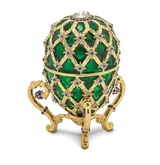 Bejeweled Green Royal Coach Musical Egg Keepsake Box