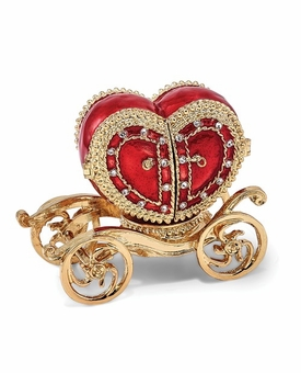 Bejeweled Heart Carriage Ring Holder Keepsake Box