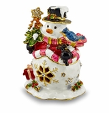 Bejeweled Holly Jolly Snowman Keepsake Box