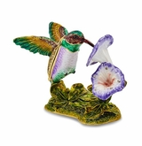 Bejeweled Hummingbird And Flower Keepsake Box