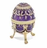 Bejeweled Imperial Purple Musical Egg Keepsake Box