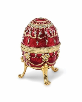 Bejeweled Imperial Red Musical Egg Keepsake Box