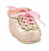 Bejeweled It's A Girl Pink Baby Bootie Keepsake Box