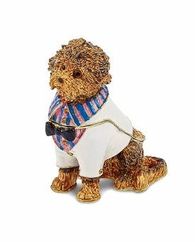 Bejeweled Labradoodle Wearing Shirt Keepsake Box