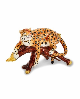 Bejeweled Leopard In Tree Keepsake Box