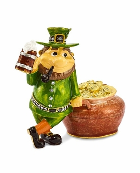 Bejeweled Lucky Leprechaun And Pot Of Gold Keepsake Box