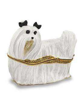Bejeweled Maltese Keepsake Box