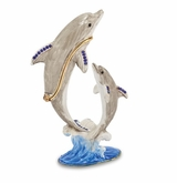 Bejeweled Mother And Baby Dolphin Keepsake Box