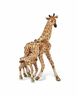 Bejeweled Mother And Baby Giraffe Keepsake Box