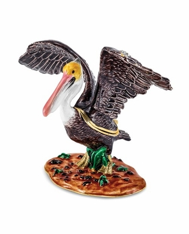 Bejeweled Pelican In Marsh Keepsake Box