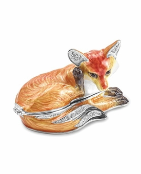 Bejeweled Red Fox Keepsake Box