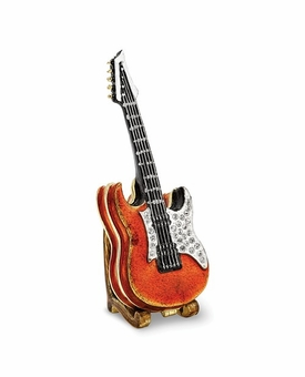 Bejeweled Red Guitar With Stand Keepsake Box