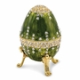 Bejeweled Regal Green Traditional Musical Egg Keepsake Box