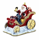 Bejeweled Santa In Sleigh Keepsake Box