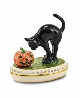 Bejeweled Silver Black Cat And Pumpkin Keepsake Box