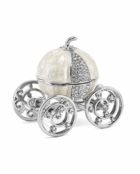 Bejeweled Silver Tone Pumpkin Coach Keepsake Box