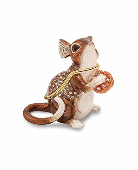 Bejeweled Sweet Mouse With Cheese Keepsake Box