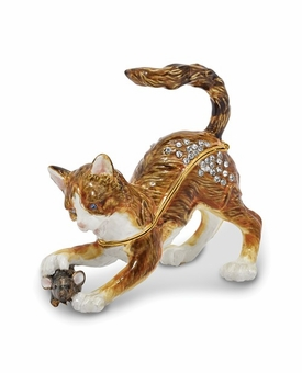 Bejeweled Tom 'N Jere Playful Cat And Mouse Keepsake Box