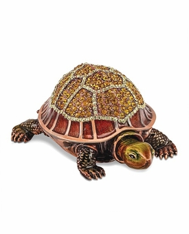 Bejeweled Tortoise With Moving Head Keepsake Box