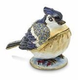 Bejeweled Winter Blue Jay Keepsake Box