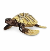 Bejeweled Yellow Sun Sea Turtle With Heart Pattern Shell Keepsake Box