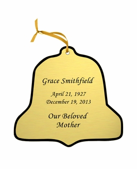 Bell Double-Sided Memorial Ornament - Engraved - Gold