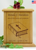 Bible Engraved Wood Cremation Urn