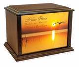 Bird in Flight at Sunset Eternal Reflections Wood Cremation Urn - 3 Sizes