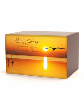 Bird in Flight at Sunset Eternal Reflections Wood Cremation Urn - 5 Urn Choices