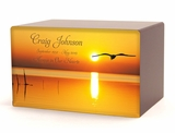 Bird in Flight at Sunset Eternal Reflections II Wood Cremation Urn - 5 Urn Choices