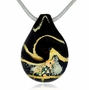 Black and Gold Cremains Encased in Glass Cremation Jewelry Pendant