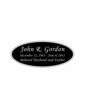 Black and Silver Engraved Nameplate - Oval - 3-1/2  x  1-7/16